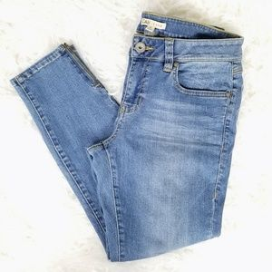 Cabi Jeans Cropped Skinny Capris Ankle Zippers